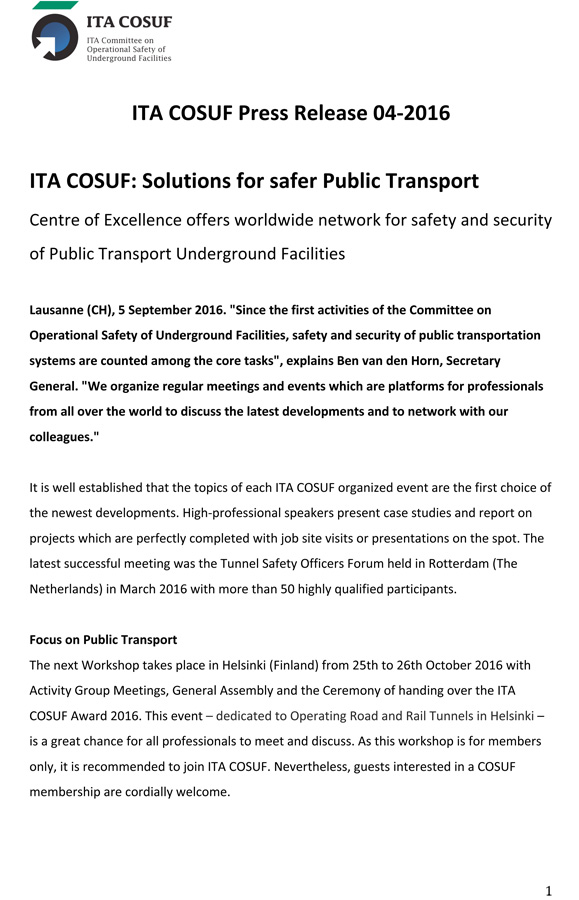 ITA COSUF: Solutions for safer Public Transport