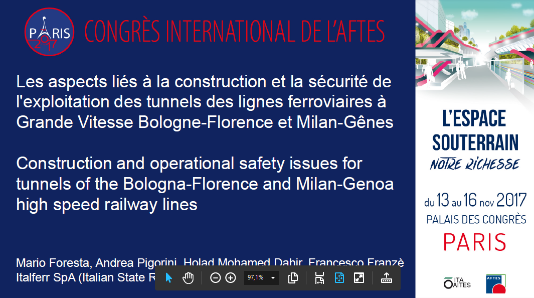 Construction and operational safety issues for tunnels of the Bologna-Florence and Milan-Genoa high speed railway lines
