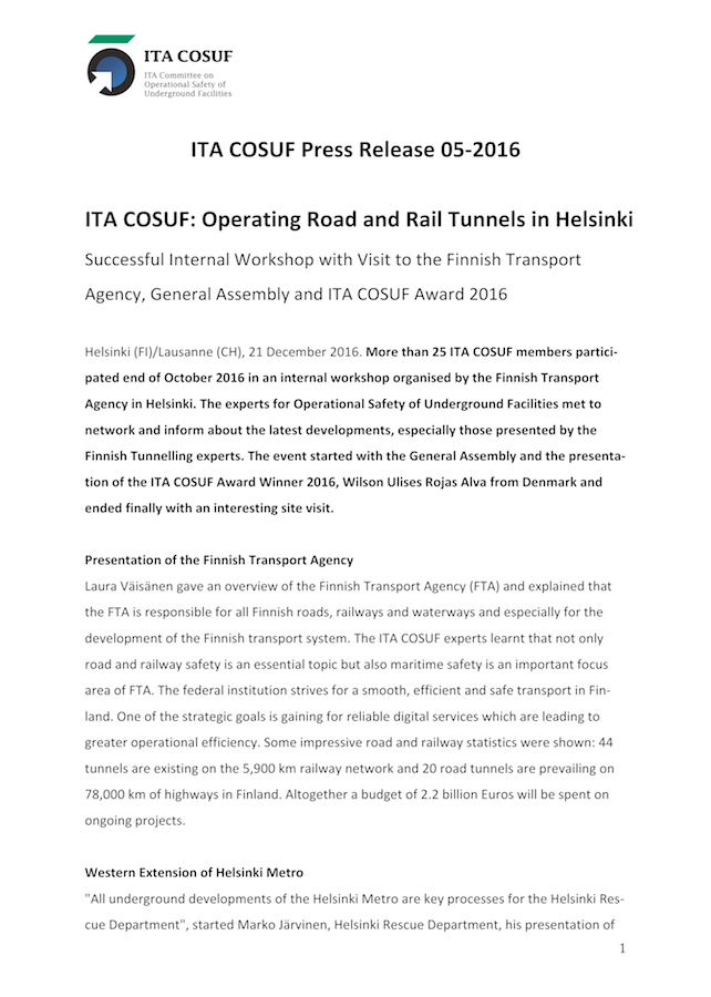 ITA COSUF: Operating Road and Rail Tunnels in Helsinki