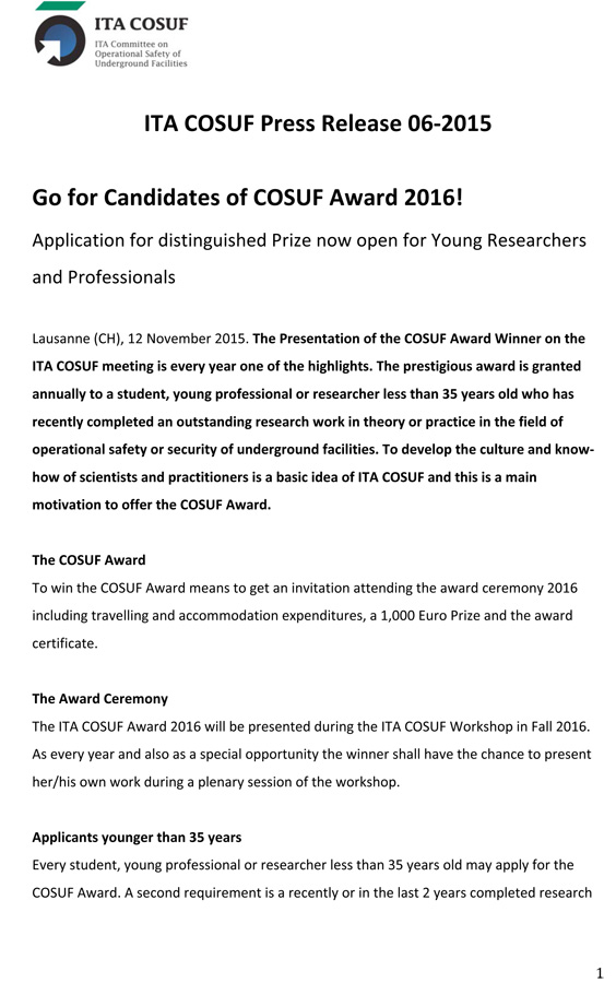 Go for Candidates of COSUF Award 2016!